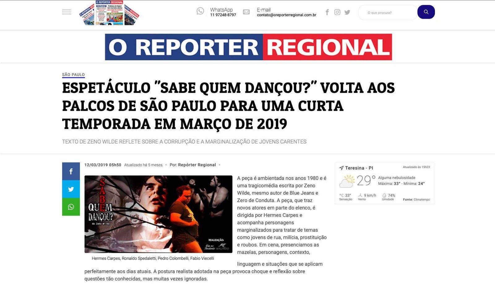 Sabe Quem Dançou - O Reporter Regional - Parte 1